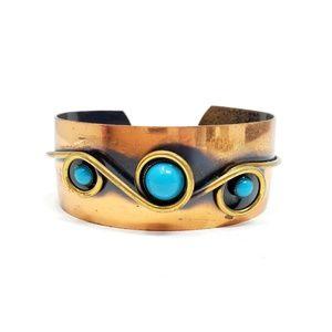 Vintage Modernist Copper & Turquoise Cuff Bracelet